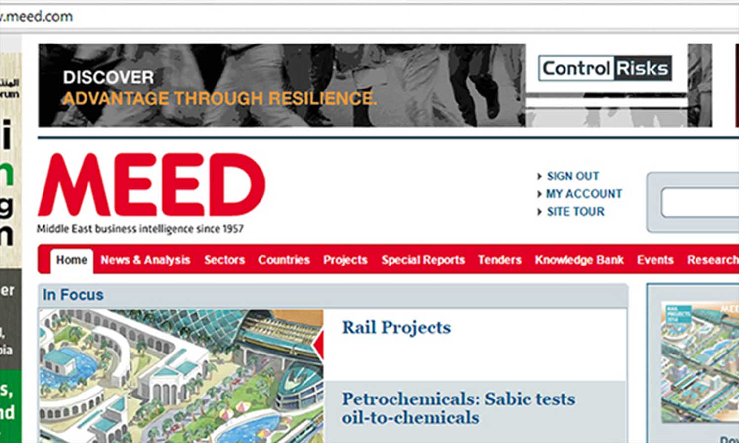 Control Risks - image of resilience campaign published on meed website
