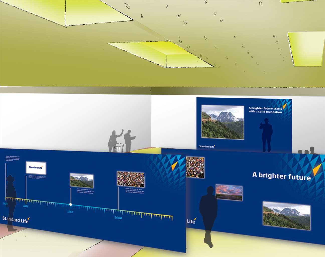 Standard Life - Fred - Dubai - mock up of timeline wall for insurance company launch event