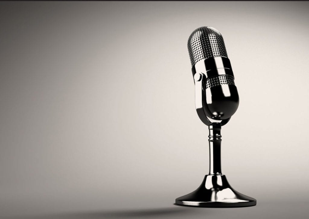image of old school chrome microphone