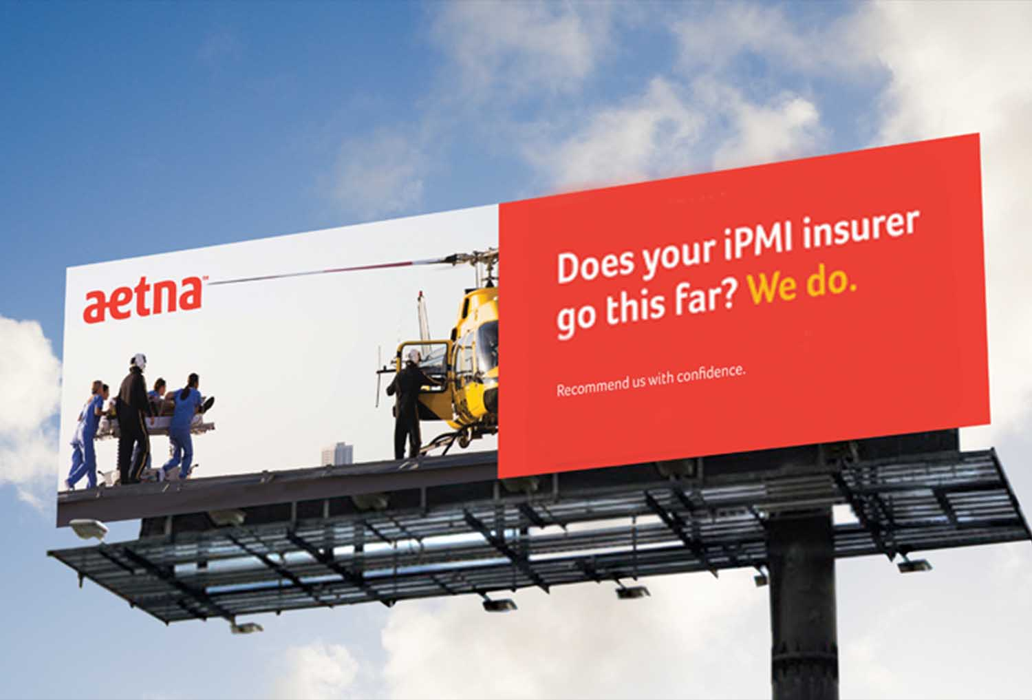 Image of billboard advertising campaign for aetna insurance dubai