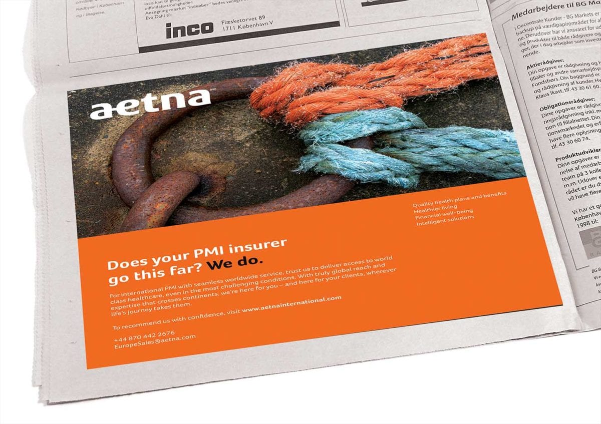 image of press advert for aetna insurance middle east