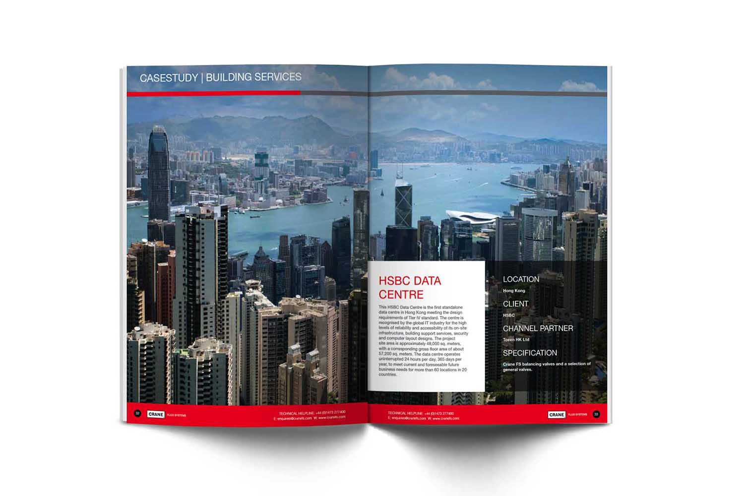 image of brochure casestudy spread from the redesigned crane bs&u brochure dubai