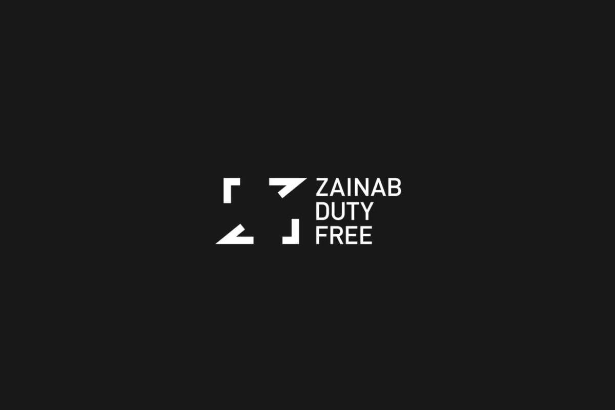 Image showing the new rebranded white logo identity for zainab duty free dubai